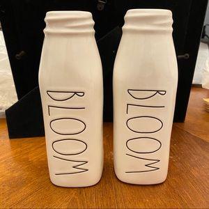Set of 2 bloom Rae Dunn milk jug vases